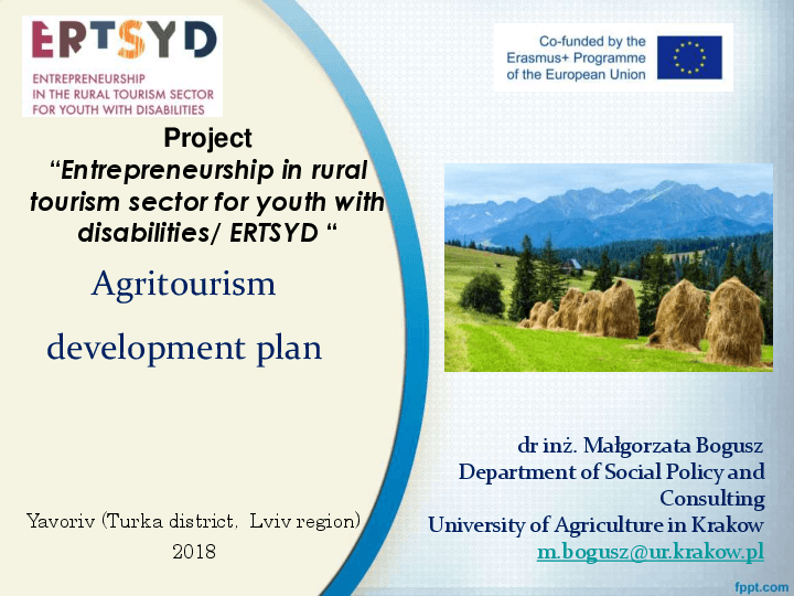Agritourism development plan