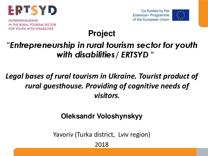 Legal bases of rural tourism in Ukraine